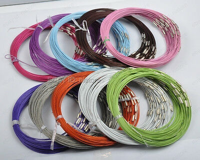 10Strs Stainless Wire Cable Steel Chains Cord Necklace 12colors