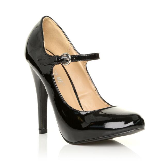 c936e0e22dd Womens Mary Jane Strap Court Shoe High Heel PUMPS Suede Patent ...