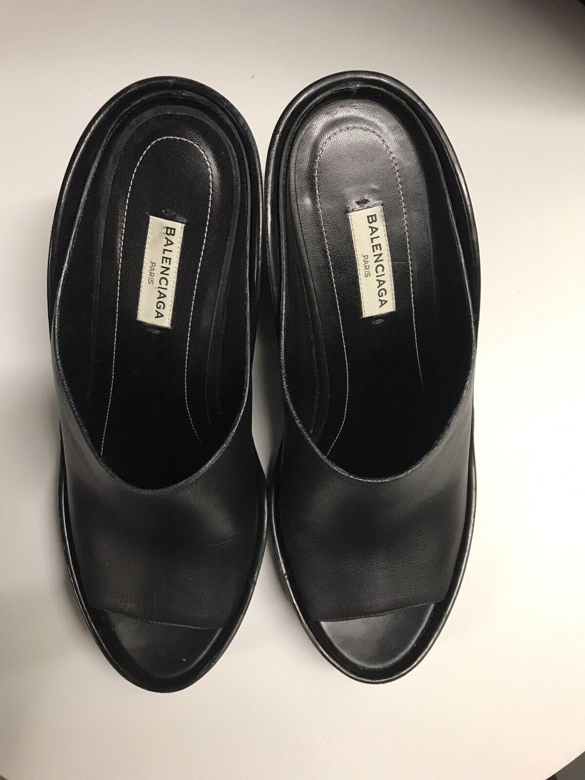 Balenciaga mula Cuero Negro Talla 40 EU 10 US