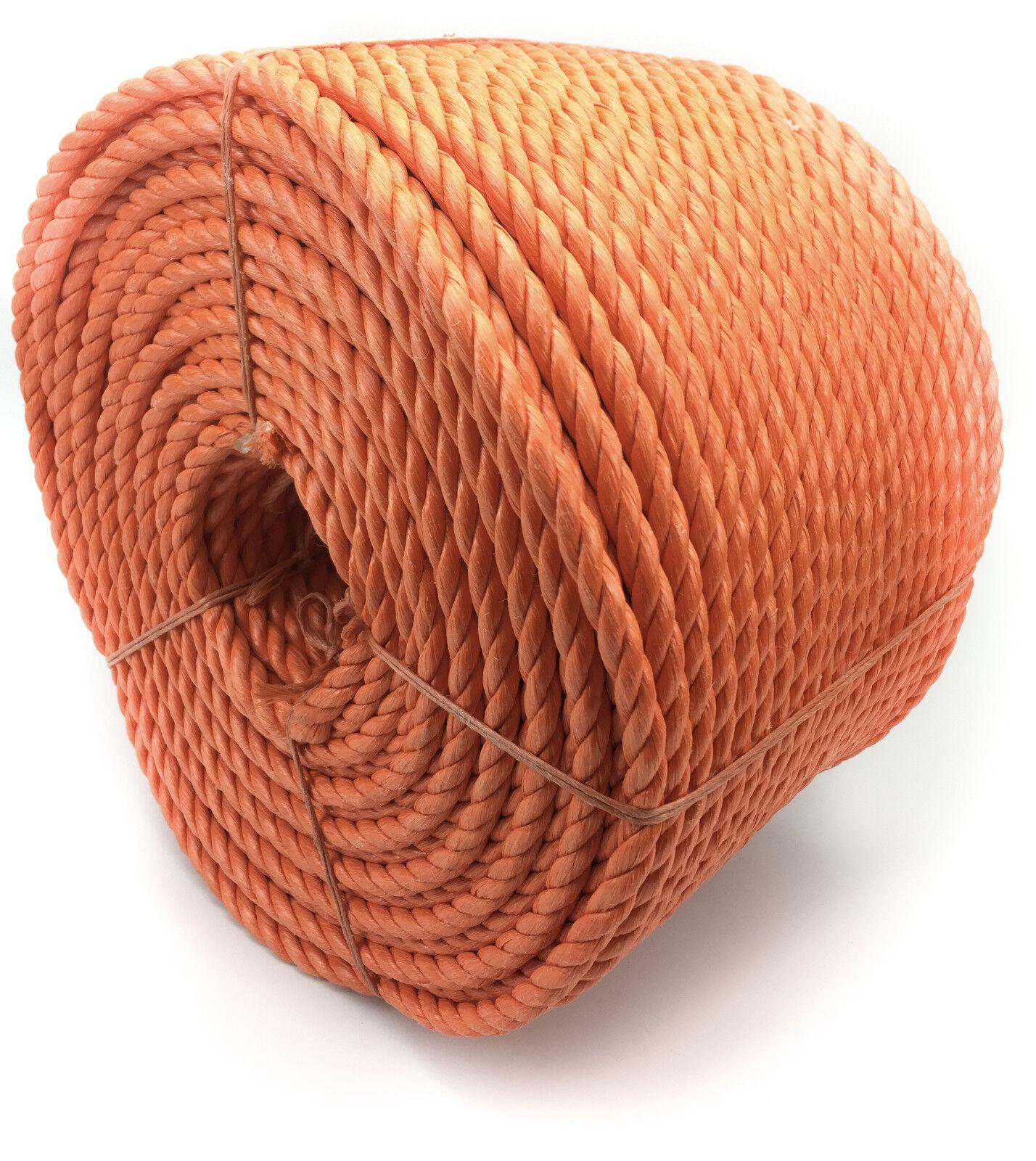 20mm Orange Polypropylen Seil x 100 Meter, Poly-Seil Rollen, preiswert Nylon