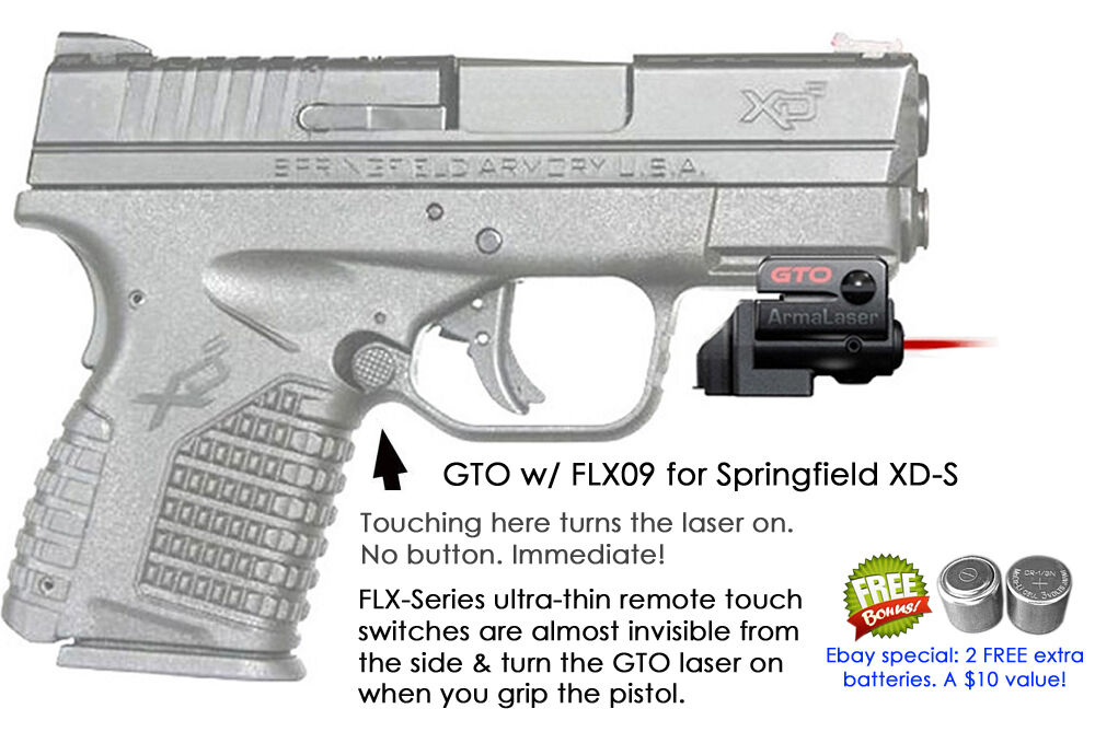 ArmaLaser GTO for Springfield XD-S XDS RED Laser Sight w FLX09 Grip Touch On Off