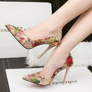 10 5 Stilett Leder Simil Geöffnet Schuhe Blumenmuster Pumps Cm Beige Elegant bY76vgfy