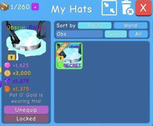 Roblox Bubble Gum Simulator Obscure Entity Secret Pet Hat Very