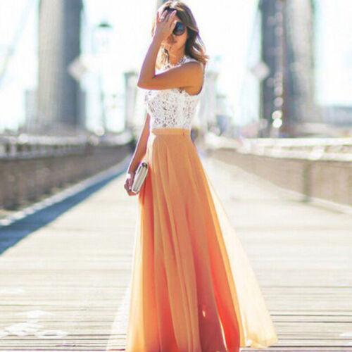 Long Skirt Women Summer Beach Pleated Casual S-XL Chiffon Fashion Maxi