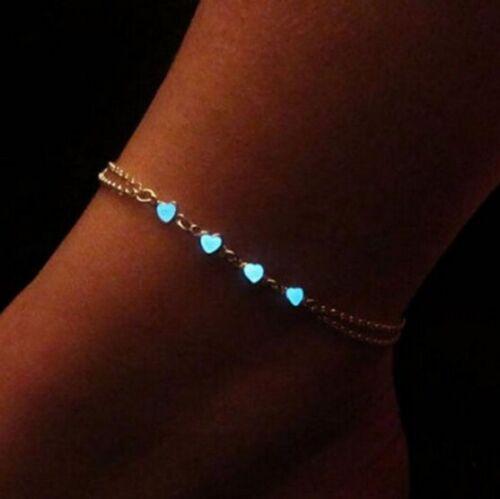 Neu Leucht Armband Fußkettchen Schmuck Kette Blogger Damen Mädchen Silber P318