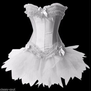 Image is loading White-Punk-Madonna-Burlesque-Corset-&-Tutu-Skirt- & White Punk Madonna Burlesque Corset u0026 Tutu Skirt Costume - Plus Size ...