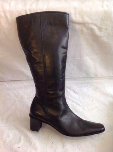 taille Jg 5 en hauteur cuir noir du à genou Bottes qTg8vx8
