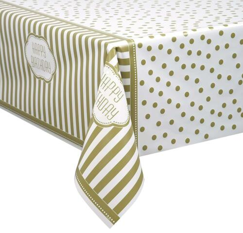 "Gold Dots /& à rayures housse de 54/"" X 84/"" Happy Birthday Party Vaisselle Fournitures"