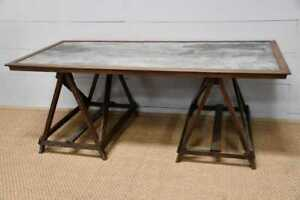 Image Is Loading Antique French Industrial Drafting Table Sawbuck Saw Horses