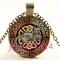 Vintage Celtic Cat Cabochon bronze Glass Chain Pendant Necklace TS-4388