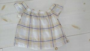 bb8354fdf4dc63 Anthropologie Cloth   Stone off the shoulder muslim plaid top size S ...