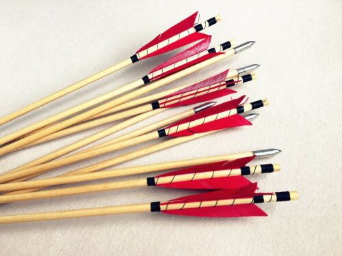 6PK//12PK//24PK Red MEDIEVAL  wooden arrows for Archery Hunting  wood arrow hunt