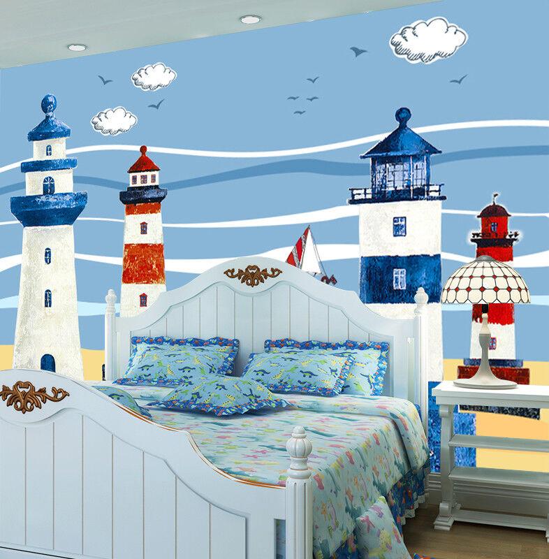 3D Leuchtturm Ozean 8799 Tapete Wandgemälde Tapeten Bild Familie DE Lemon