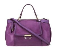B Makowsky ☀ Leather Zip Top Convertible Satchel Purple Concord Lizard ☀ A232146
