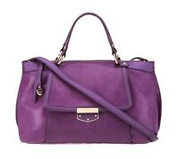 B Makowsky ☀ Leather Zip Top Convertible Satchel Purple Concord Lizard ☀ A232146