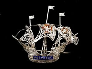Art-Deco-Silver-Filigree-Ship-brooch