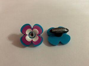 Purple-amp-Blue-Flower-with-Bling-Shoe-Doodle-Rubber-or-Crocs-Shoe-Charm-PSC1125