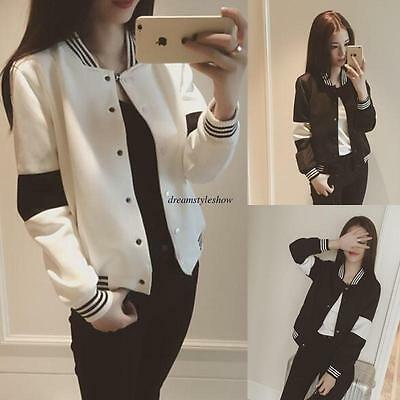 Korean Women Casual Loose Buttons Sport Baseball Jacket Short Coat Outwear Top