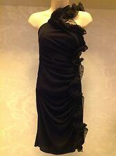 womans black Catherine Malandrino black silk dress size 6