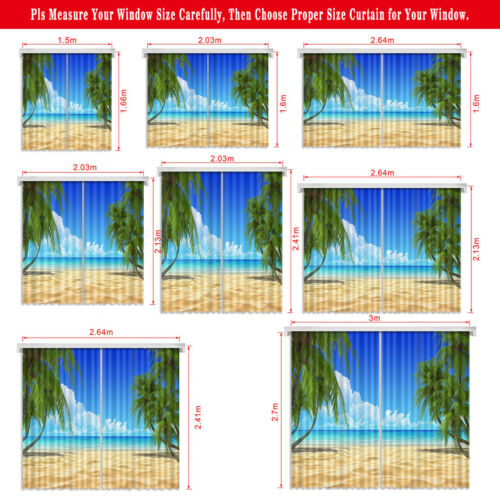 3D Printing Window Curtains Blockout Drapes Fabric Tropical Jungle Palm Trees
