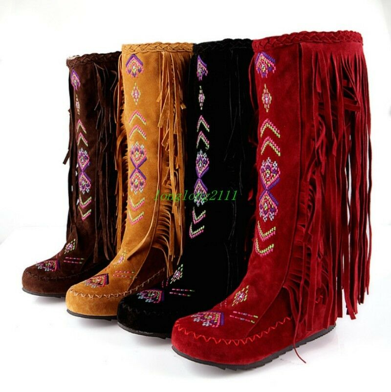 US13 Boho Knee High Suede Boots Ladies Casual Flat heel Boots Ethnic Tassel shoes