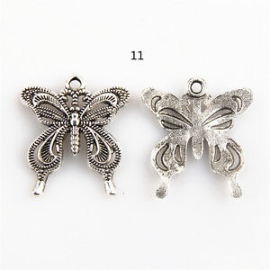 Wholesale 10pcs Tibet Silver Butterfly Charm Pendant Beaded Jewelry DIY 26