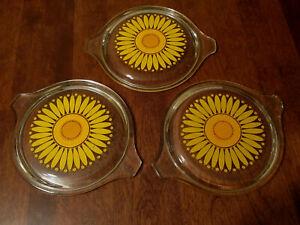 Vintage PYREX Sunflower Daisy Flower Clear Glass Lids - Set of 3