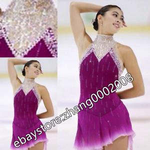 Ice skating dress.Purple Sleeveless Figure Skating Dress Baton Twirling Costume