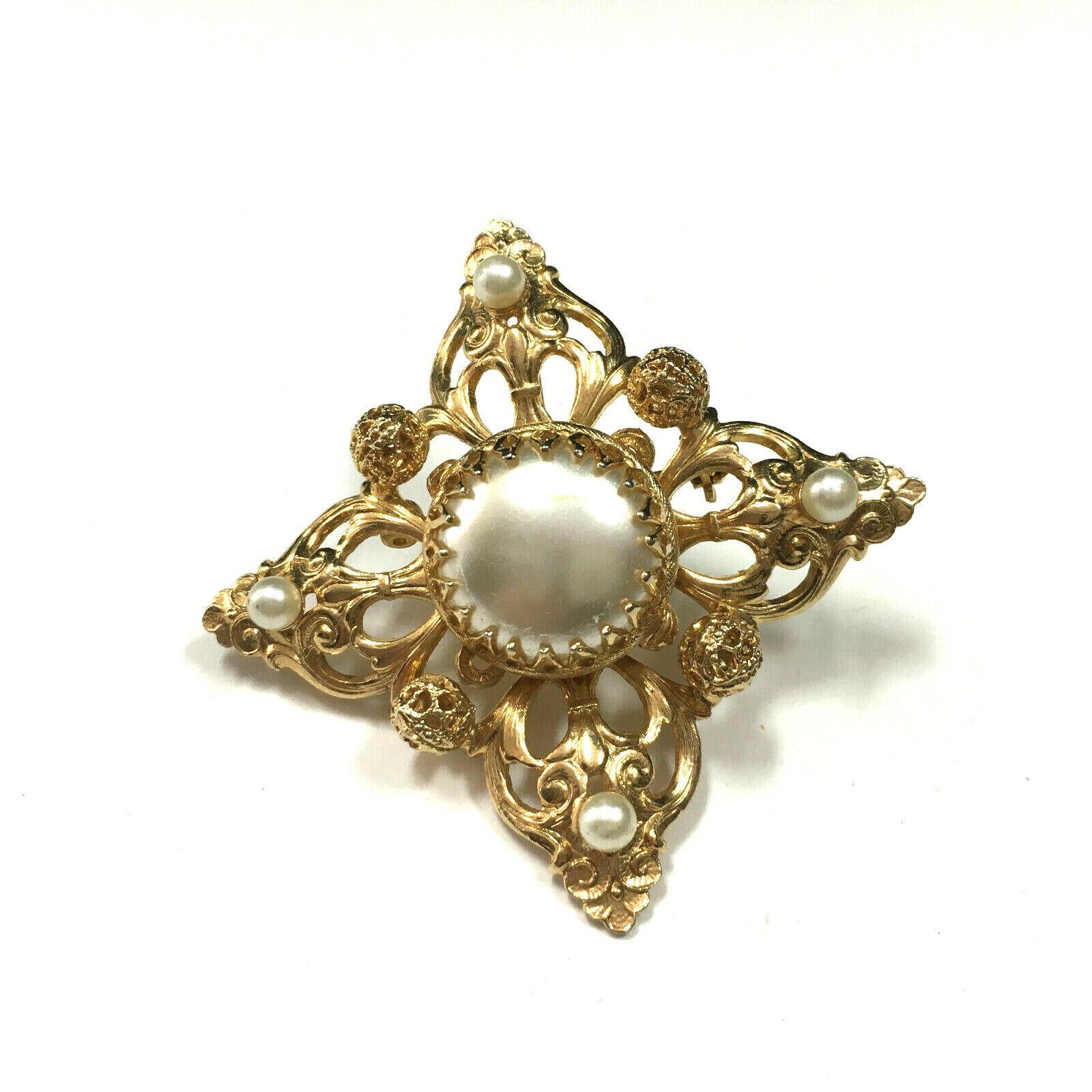 Vintage MOGHUL Pearl Brooch Pin Pendant Gold Plat… - image 3