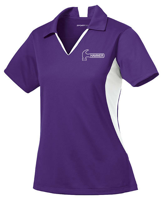 Hammer Women's Razyr Performance Polo Bowling Shirt Dri-Fit Purple White