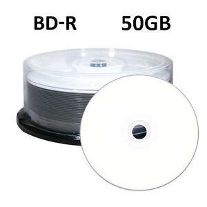 25 6x 50GB Blu-ray BD-R DL Double Layer Blank Media White Inkjet Printable Discs