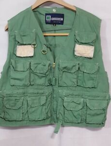 Vintage-Kassnar-Fly-Fishing-Vest-Green-Size-XL-13-Pockets