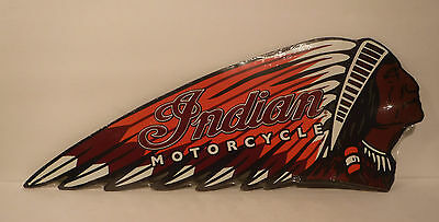 New-Indian Motorcycle Embossed Metal Sign Chief Chopper Man Cave Garage