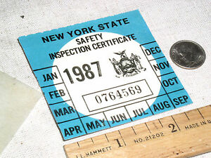 Details about 1 VINTAGE NOS 1987 NY N Y S NEW YORK STATE CAR AUTO SAFETY  INSPECTION STICKER