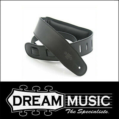DSL Padded Leather Guitar Strap - Black with Black Back - GEG25-15-1