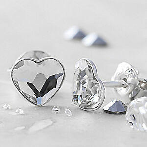 Image Is Loading 925 Sterling Silver Stud Earrings Heart Clear Crystals
