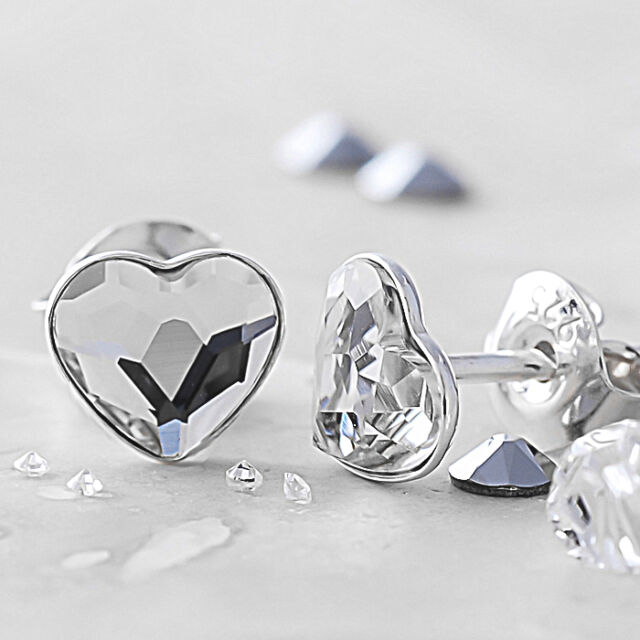 35e9babbb 925 Sterling Silver Stud Earrings Flat Heart Clear 6mm Crystals From ...