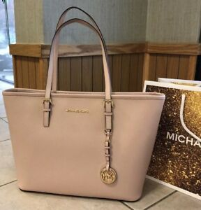 120d58b1aa2f  278 Michael Kors Jet Set Travel Handbag Purse MK Plush Saffiano ...