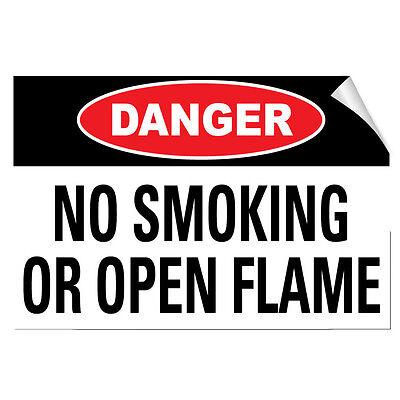 No Smoking No Open Flames Danger OSHA ANSI LABEL DECAL STICKER