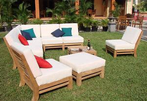 Ramled A-Grade Teak Wood 7pc Sectional Sofa Lounge Set Outdoor ...