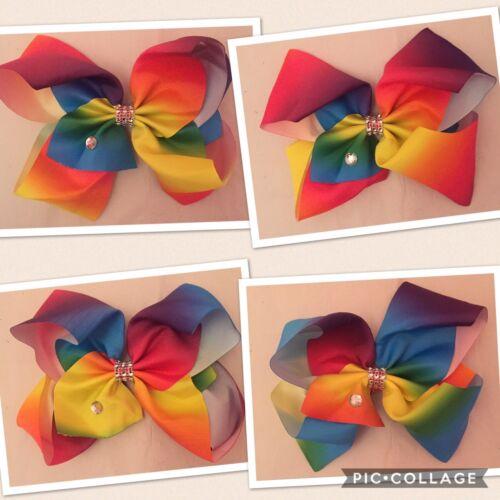 "XL 8/"" Big Rainbow Hair Bow Clip Dance Moms School Rhinestone FAST UK SELLER"