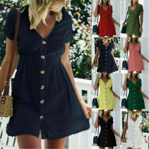 Summer-dresses-for-women-Plus-Size-Mini-Dress-Short-Sleeve-Tea-beach-V-Neck