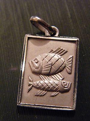 Pendant Medallion Zodiac sign Sterling Silver Fish silver silver rec