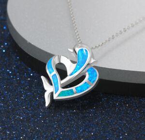 E05 Herz und Delfin aus blauem Feueropal Sterling Silber 925 Anhänger Kette