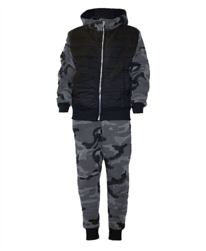Kids Quilted Camo Tracksuit Jogging Running Army Military Suit 2Piece Set 3-14 Y
