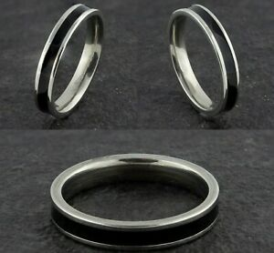 4mm-Stainless-Steel-Black-amp-Silver-Mens-amp-Womens-wedding-Band-Ring-Size-K-to-Y