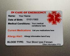 Diabetic Wallet Medical Alert Card Custom Eengraved Id Information