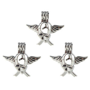5x-Silver-Plate-Baby-Foot-Wings-Pearl-Cage-Locket-Pendant-Essential-Oil-Diffuser