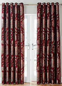 Details about Metallic Floral Modern Living Room Red Curtains With Ring Top  Eyelet Header