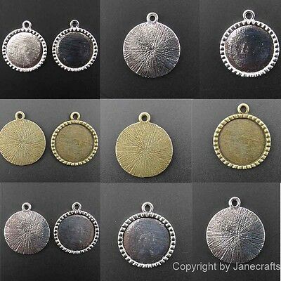 20/100pcs Charm Pendants Antique Style Silver Cameo Cabochon Setting 25mm
